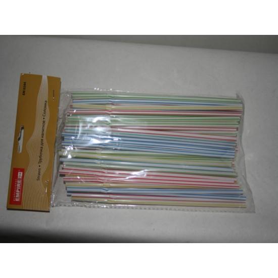 Трубочка для коктейлей цветная гофра (100шт) ЕМ0244 21см